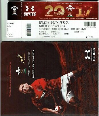 WALES v SOUTH AFRICA RUGBY UNION PROGRAMME 2017 PLUS MATCH TICKET