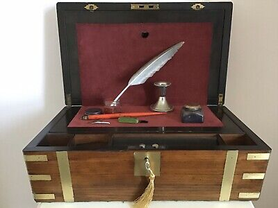 Fab Quality Victorian 1870 Campaign Writing Slope Figured Walnut Secret Drawers