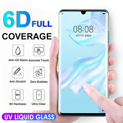 For Huawei P30 Pro UV Glue 6D Curved Liquid Tempered Glass Screen Protector Film