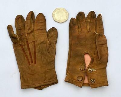 "Beautiful Antique Very Small Babies Or Toddlers Leather Gloves Tiny 5"" Long"