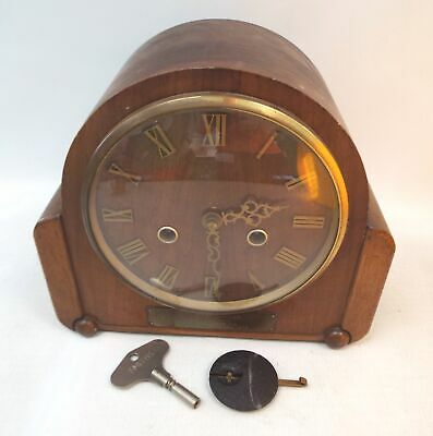 Vintage SMITHS Wooden Mantle Clock With Pendulum And Key - Spares/Repairs - P29