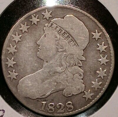 1828 Square Base 2  Small 8's Small letters Silver Capped Bust Half Dollar