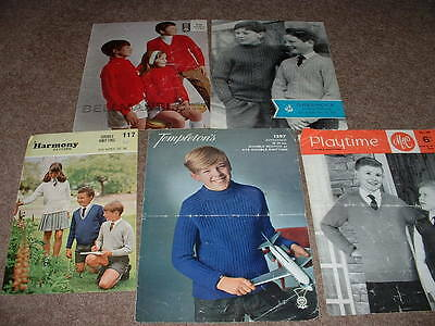 Five Vintage Childrens Sweaters Knitting Patterns