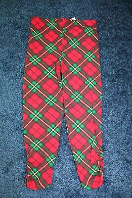 Girls 5T Holiday Time Christmas Plaid Leggings Red and Green with Gold Glitter