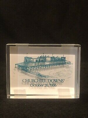 Vtg Churchill Downs Horse Racetrack Lucite/Acrylic Commemorative Paperweight 86