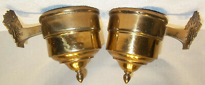 Matched Pair Antique Brass Eastlake Banquet Oil Lamp Wall Mount Font Holders