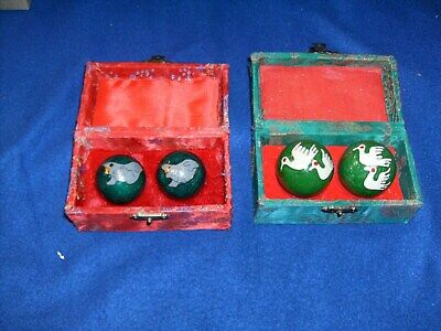2 Sets Chinese Baoding Health Stress Relief Balls That Chimes In Gift Boxes