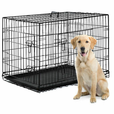 Dog Crate Kennel Folding Metal Pet Cage S/M/L/XL/XXL 2 Door with Tray Pan