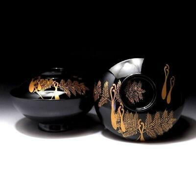 OD15: Vintage Japanese Lacquered Wooden Covered Bowls, GOLD MAKIE, Warabi