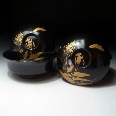 RE15: Vintage Japanese Lacquered Wooden Covered Bowls, GOLD MAKIE, Butterfly