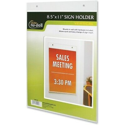 "Nu-Dell 8.5x11""  Vertical Wall Mount Sign Holder Clear"
