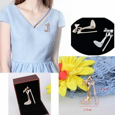 Chic Rhinestone Hot Crystal Brooch pin High Heeled Shoes Jewelry Gold Plated