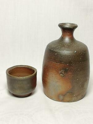 Japanese Bizen Ware Sake Bottle and Cup Tokkuri Guinomi