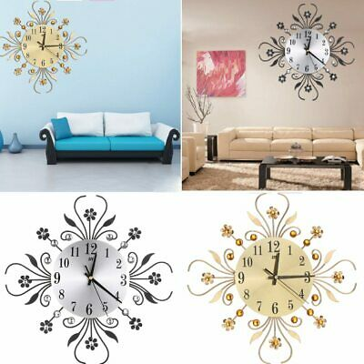 Vintage Metal Art Mute Wall Clock Crystal Large Wall Watch Home Office Decor UK