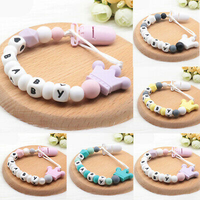 Silicone Beads Personalized Name Crown Baby Soother Clips Pacifier Holder Chain