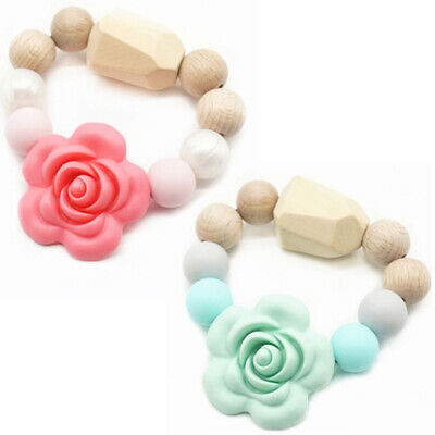 Flower Baby Teether Bracelet Food Grade Silicone Wood Beads Teething Toys Rattle
