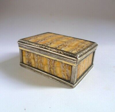 Antique Georgian Snuff Box, Sterling Silver & Mammoth Tooth c.1820