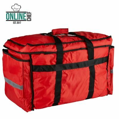 Heavy-Duty Insulated Red Nylon Soft-Sided Food Delivery Bag Pan Carrier Kitchen