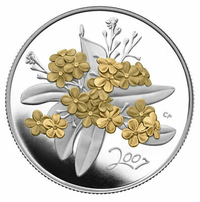 Golden Forget-Me-Not - 2007 Canada 50 cent Silver Coin