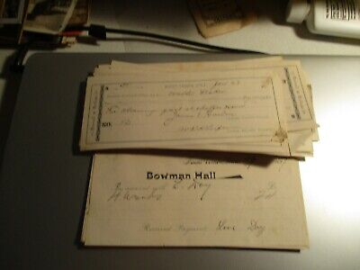 1890 Cornell College Mt Vernon Stack of Bank Drafts Bowman Hall