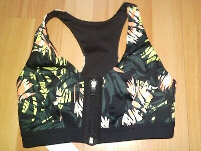 NEW M/&S EXTRA HIGH IMPACT NON WIRED PADDED CROP TOP ZIP FRONT 32E DARK BLUE MIX