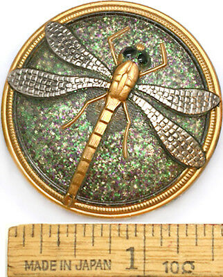 LG Focal 40mm Silver + Gold Rainbow GLITTER 3D DRAGONFLY Czech Glass Button 1pc