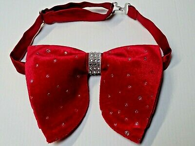 Handmade Oversized Black Red Plaid Bow tie Vintage style 70s Wedding Prom Gift