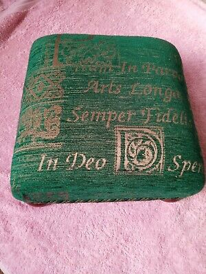 Small Green footstool used, excellent condition, mahogany coloured bun feet