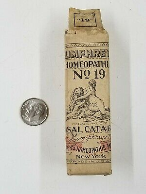 Vintage Humphrey's Homeopathic No 19 Catarrh Medicine Bottle Paper Wrapped Ny
