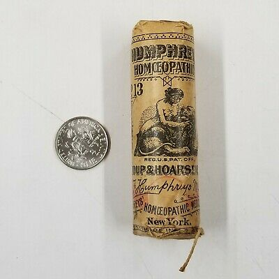 Vintage Humphrey's Homeopathic No 13 Quack Medicine Bottle Paper Wrapped Ny