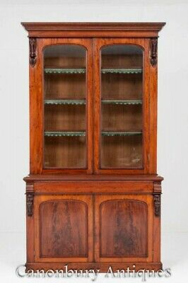 Victorian Bookcase - Antique Mahogany Cabinet 1860