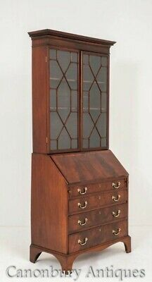 Georgian Bureau Bookcase - Mahogany Antique Cabinet Circa 1800