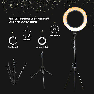 "18"" Dimmable Ring Light , Stand, Bag Kit LED Dual Color Continuous Lighting"
