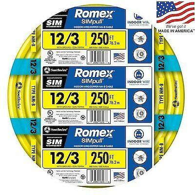 Southwire Romex 250' 12-3 WG Non-Metallic Cable Copper Electrical Wire NM-B 12/3