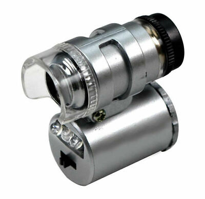 Lot of 10 - 45X Mini LED Pocket Microscope + UV Light Coin Stamp Currency Detect