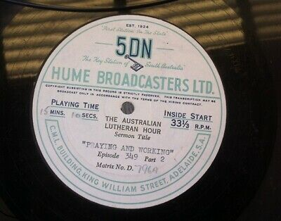 """4 16"""" Radio Transcriptions The Australian Lutheran Hour 5DN Hume Broadcasters"""