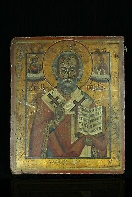 Jul117 Russian Antique Icon Hand Painted St Nicholas 19Th Century