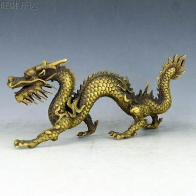 Superb  china brass hand made fengshui lucky Chinese Zodiac dragon statue