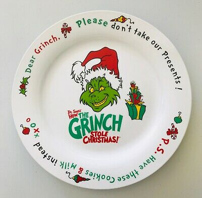 How the Grinch Stole Christmas Cookie Plate Dear Grinch Please Don't Take 12""
