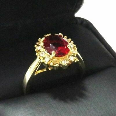 Sparkling Oval Red Ruby Ring Women Wedding Jewelry 14K Gold Plated Nickel Free