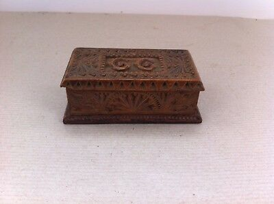LOVELY DECORATIVE VINTAGE CARVED WOODEN STAMP BOX - G G - 4 by 2.25 inches