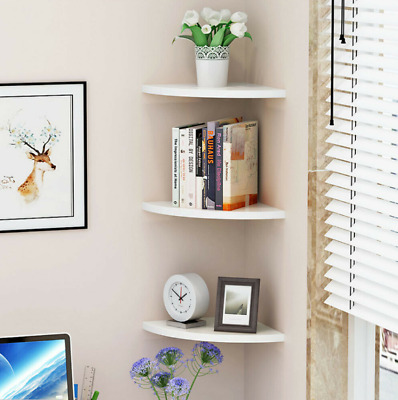 Pack of 3 White Floating Wall Corner Shelves Shelf Unit Storage Display Bookcase