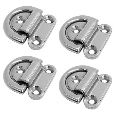 4x Stainless Steel Folding Pad Eye 43x40mm, Small D Ring Tie Down, Marine Grade