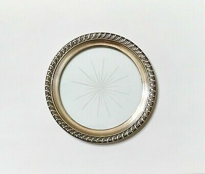"""Sterling Silver & Etched Crystal Glass """"Wine Bottle"""" Coaster by the Webster Co."""