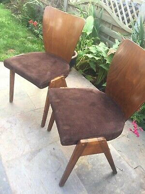 Pair 1950s/60s  Wooden Stacking Chairs. Vintage/Retro/Mid Century