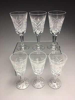 Lot Of Six Waterford Clare Pattern Cut Crystal Sherry Glasses Stemware 5-1/8""