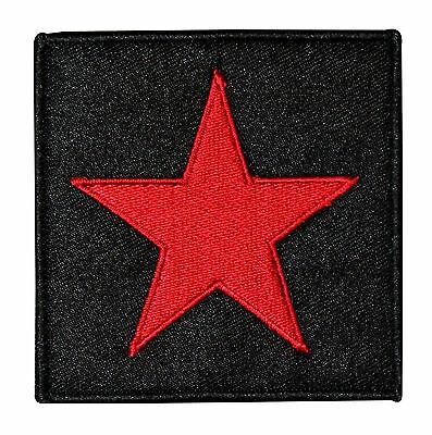 Red Star on Black Background Patch Logo Badge Embroidered Iron On Applique