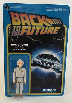 Back To The Future Doc Brown  ReAction Exclusive Retro Style Action Figure New