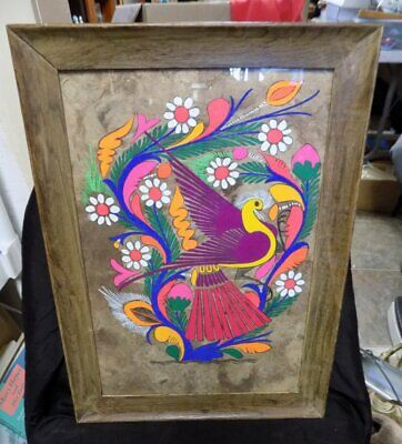 """Vintage Psychedelic Framed Print~Colored Bird~1960'S-70'S~Hippie~19"""" X 14"""""""