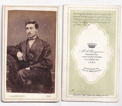Victorian cdv Man with Bow Tie by P A Rayner of Leek